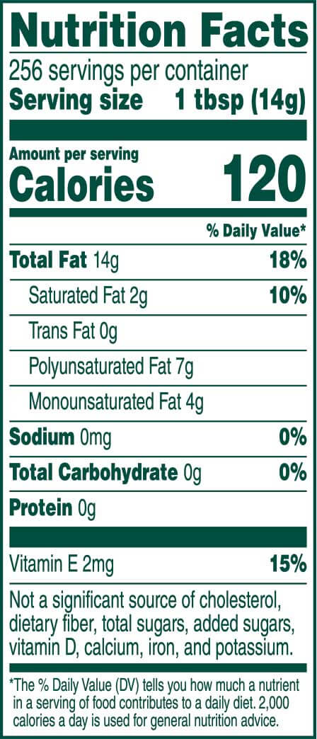 Product Nutrition Label